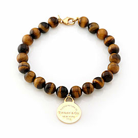 Tiffany & Co. Please Return 18k Yellow Gold Tag Charm Tiger's Eye Bead Bracelet