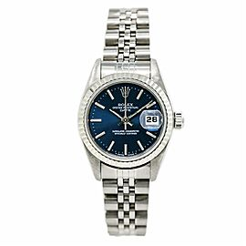 Rolex Date 69240 Women's Automatic Watch Stainless Steel Blue Dial 26MM