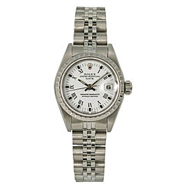 Rolex Date 69240 Women's Automatic Stainless Steel Watch White Dial 26mm