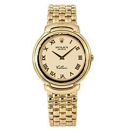Rolex Cellini Cellissima 6623/8 Mens Watch 37mm 18k Gold Porcelain Dial