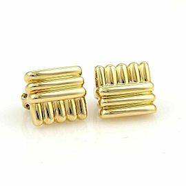 David Webb 18k Yellow Gold Rectangular Shape Ribbed Earrings