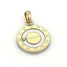 Bvlgari 18k Gold Steel Diamond Spinner Wheel 12 Months Horoscope Pendant