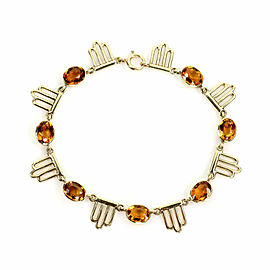 Retro Citrine Gemstone 14k Yellow Gold Fancy Link Bracelet