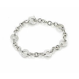 Bulgari 18k White Gold 6 Engraved Circle Link Chain Bracelet