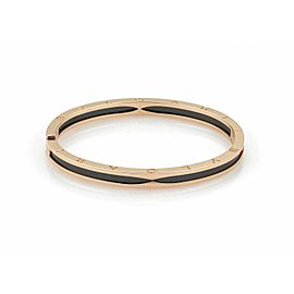 Bulgari B.zero1 Black Ceramic & 18k Pink Gold Bangle Bracelet