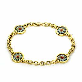 Masriera Enamel 4 Flower Station 18k Yellow Gold Chain Bracelet