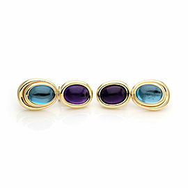 H.Stern Amethyst & Blue Topaz 18k Yellow Gold 2 Oval Tier Post Clip Earrings