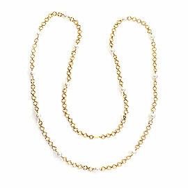 Mikimoto Akoya Pearls 18k Yellow Gold Diamond Cut Link Long Necklace