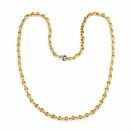 Roberto Coin Appassionata 18k Two Tone Gold Textured Oval Link Long Necklace