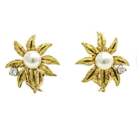 Kurt Wayne 18k Yellow Gold Diamond Pearl Flower Clip-On Stud Earrings