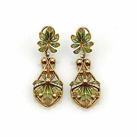 Masriera Art Nouveau Diamond Plique-à-jour Enamel 18k Yellow Gold Earrings