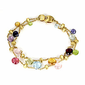 Marco Bicego Paradise Multi-Color Gems 18k Yellow Gold 2 Strand Chain Bracelet