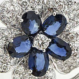 18k White Gold Diamond Sapphire Flower Brooch