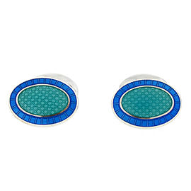 Tiffany & Co. Blue and Teal Enamel Oval Sterling Silver Cufflinks