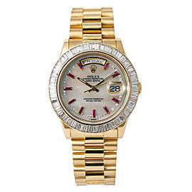 Rolex President Day Date 118208 P Serial Baguette Diamond Bezel Watch 18K 38mm