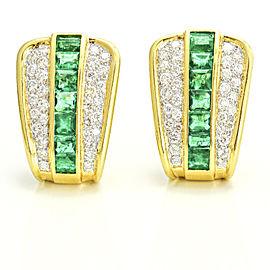 18k Yellow Gold Diamond Emerald Retro Shield Earrings