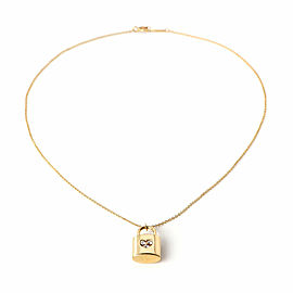 Tiffany & Co. 3 Diamonds 18k Yellow Gold Pad Lock Heart Pendant & Chain