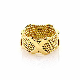 Tiffany & Co. Schlumberger 18k Yellow Gold Wide 6 Row Wire Stack X Band Ring
