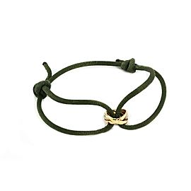 Cartier Trinity 18k Tricolor Gold Rolling Ring Charm Olive Green Cord Bracelet