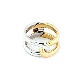 Cartier 2 Parts Puzzle Band 18k Yellow & White Gold Ring Size 53