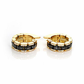 Chanel Ultra Diamond Black Ceramic 18k Yellow Gold 6mm Wide Hoop Earrings