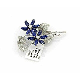 Diamond & Lapis 18k White Gold Floral Brooch