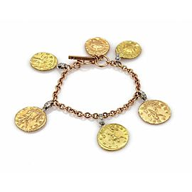 Roberto Coin Diamond 18k Tri-Color Gold 6 Coin Charms Toggle Bracelet