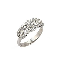 Tiffany & Co. Diamond 3 Rose Platinum Band Ring Size 6