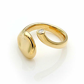 Tiffany & Co. Peretti Diamond Full Heart 18k Yellow Gold Open Ring Size 4