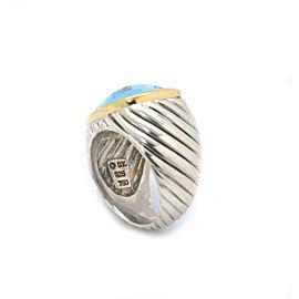 David Yurman Albion Blue Topaz Sterling Silver 18k Yellow Gold Ring Size 5.75