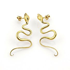 Dangling Snake 18k Yellow Gold Earrings
