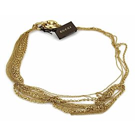 Gucci 18k Gold Multi-Strand Marina Rolo Link Necklace With Horsebit Clasp