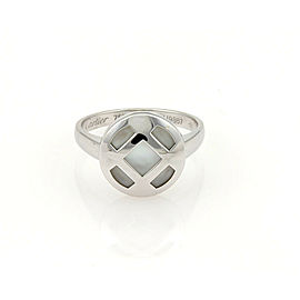 Cartier Pasha Mother Of Pearl 18k White Gold Ring Size 50 US 5 w/Certificate