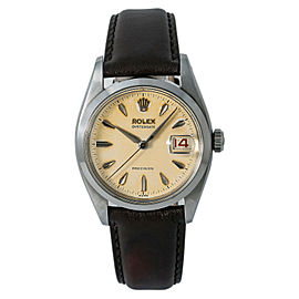 Rolex Oysterdate Vintage Unpolished 6494 Men Hand Wind Watch Tropical Dial 34mm