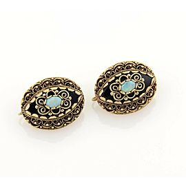 Vintage Opal & Black Enamel Fancy Scroll Design Drop Earrings