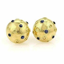 Tiffany & Co. Cabochon Sapphire Half Dome Stud 18k Gold Earrings