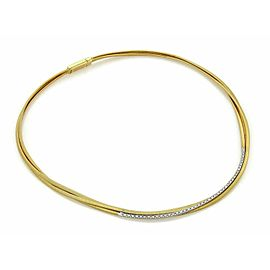 Marco Bicego Cairo Diamond 18k Two Tone Gold Triple Strand Choker Necklace