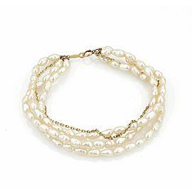 Mikimoto 3 Strand Freshwater Rice Pearls & 14k Gold Chain Bracelet