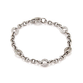 Bulgari 18k White Gold 5 Engraved Circle Station Chain Bracelet