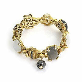 Judith Ripka Ambrosia Diamond & Gems 18k Yellow Gold Hefty Link Fancy Bracelet