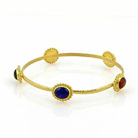 Gurhan Afgan 5 Gemstone 24k Gold Hammered Bangle