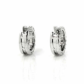 Bulgari B.zero1 18k White Gold Engraved Mini Hook Earrings
