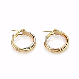 Cartier Trinity 18k Tricolor Gold Mid Size Triple Band Hoop Earrings