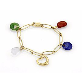Tiffany & Co. Peretti 18k Yellow Gold 5 Carved Gemstone Charm Bracelet