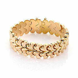 Retro 18k Yellow Gold 19mm Wide Floral Link Bracelet