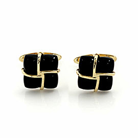 Tiffany & Co. Black Onyx 18k Yellow Gold Square Design Stud Cufflinks