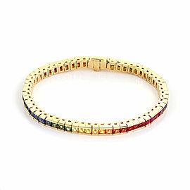 Estate French Cut Multi-Color Gems 18k Yellow Gold Rainbow Tennis Bracelet