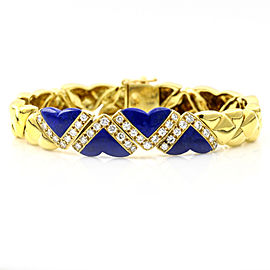 Fred of Paris 18k Yellow Gold Lapis Lazuli Diamond Heart Link Bracelet