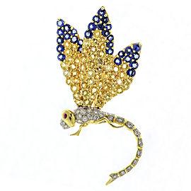 7.00 Carat 18k Gold Ruby Diamond Sapphire Dragonfly Brooch
