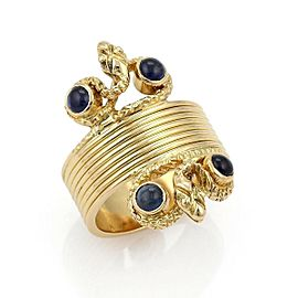 Lalaounis Cabochon Sapphire 18k Yellow Gold Wide Snake Band Ring